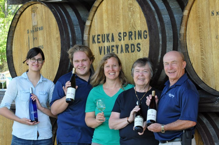 Photo of (left to right) of assistant winemaker Rachel Hadley, head winemaker August Deimel, marketing director Jeanne Wiltberger and owners and founders Judy and Len Wiltberger