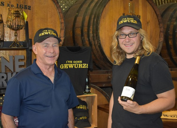 Owner Len Wiltberger and Winemaker August Deimel with their Governor's Cup winning 2017 Gewurztraminer