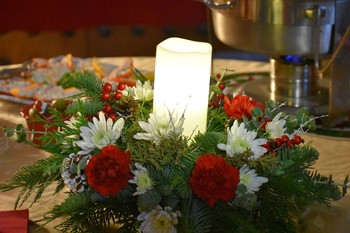 Candle centerpiece at Holiday Barrel Tasting