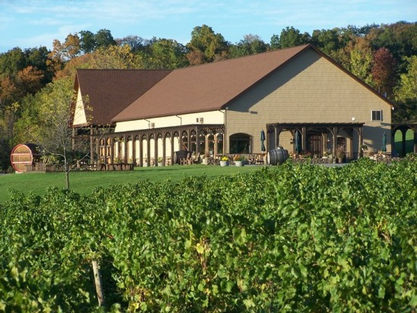 Outdoor Image showing the front of Keuka Spring Vineyards' Tasting Room and winery