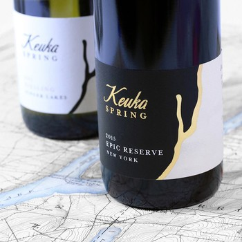 Close-up of Keuka Spring Vineyards' wine labels