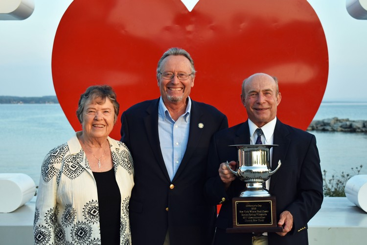 Owners Len and Judy Wiltberger with NY Agricultural Commissioner Richard A. Ball and their 2018 Governor's Cup Award