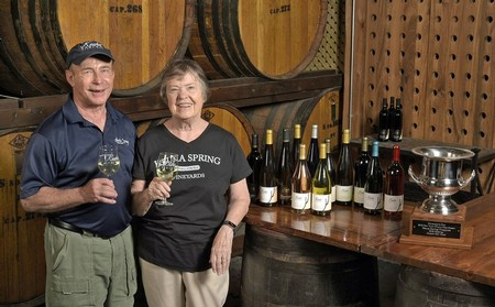 Len and Judy Wiltberger, owners and founders of Keuka Spring Vineyards, in the Tasting Room